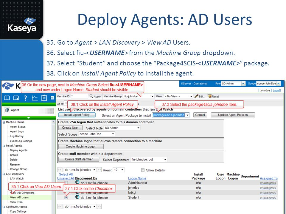 Deploy Agents: AD Users