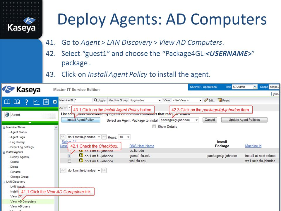 Deploy Agents: AD Computers