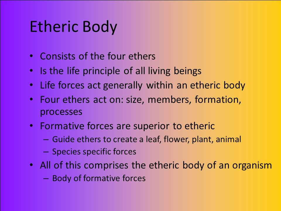 Etheric Body Consists of the four ethers