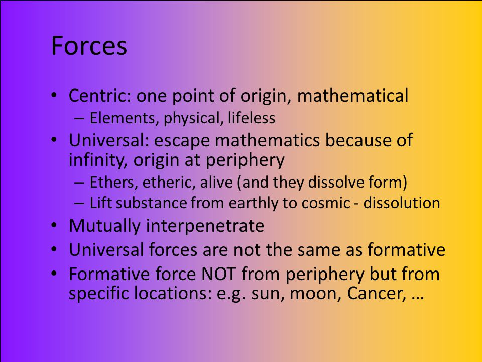 Forces Centric: one point of origin, mathematical
