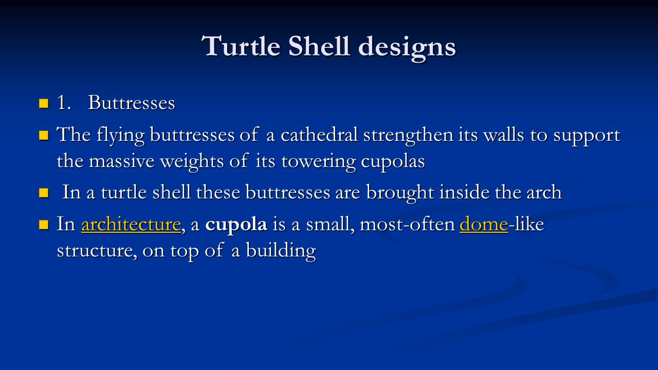 Turtle Shell designs 1. Buttresses