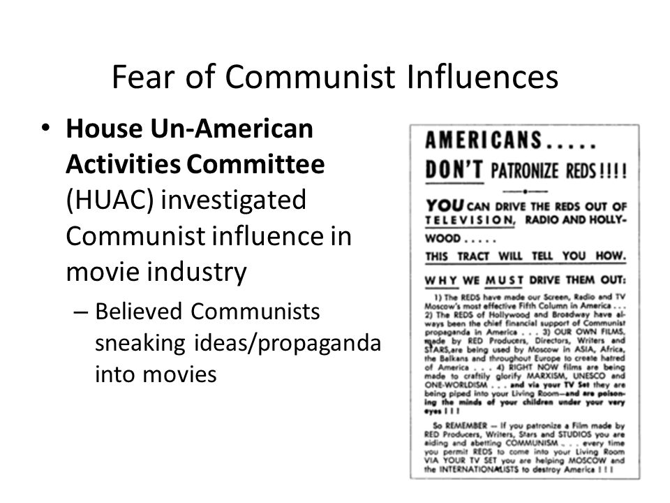 Fear of Communist Influences