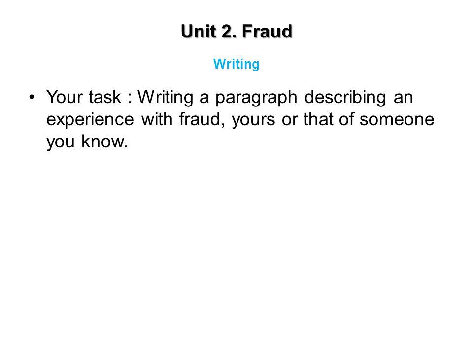 Unit 2. Fraud Writing.