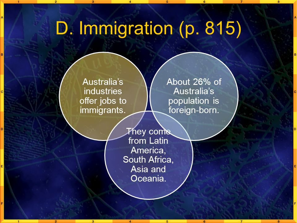 D. Immigration (p. 815) Australia's industries offer jobs to immigrants. They come from Latin America, South Africa, Asia and Oceania.
