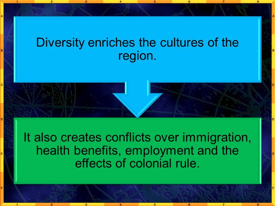Diversity enriches the cultures of the region.
