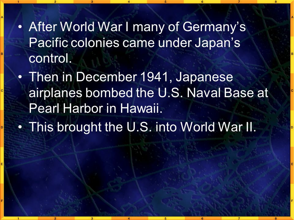 After World War I many of Germany's Pacific colonies came under Japan's control.