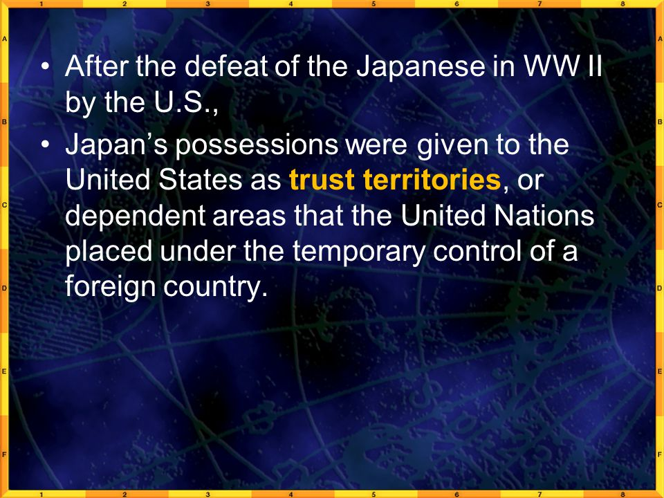 After the defeat of the Japanese in WW II by the U.S.,