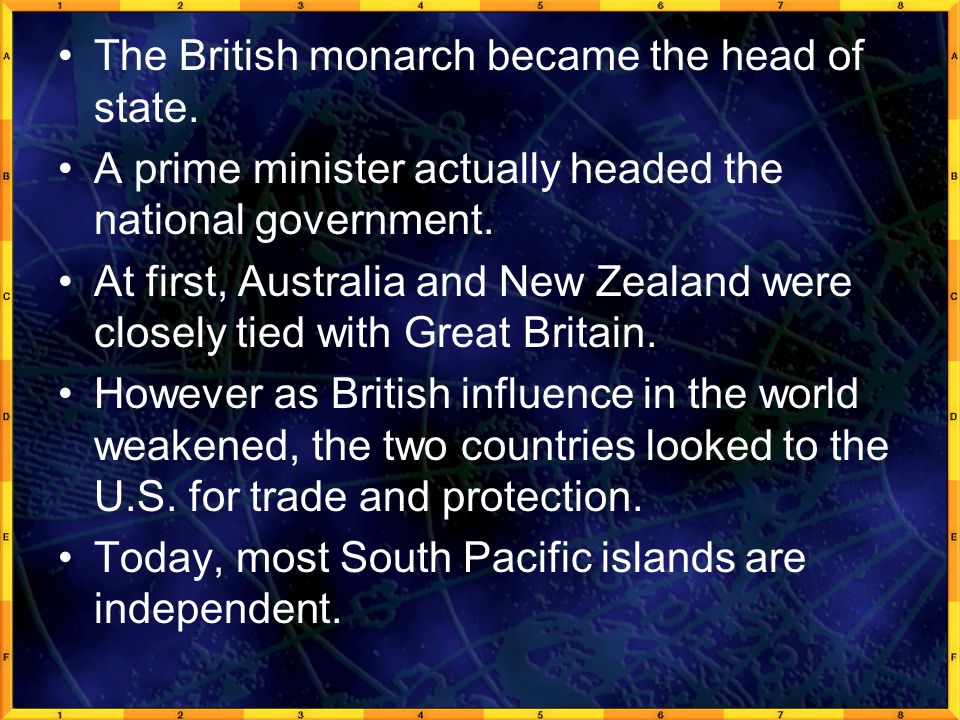 The British monarch became the head of state.