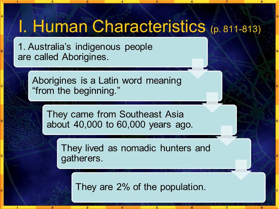 I. Human Characteristics (p. 811-813)