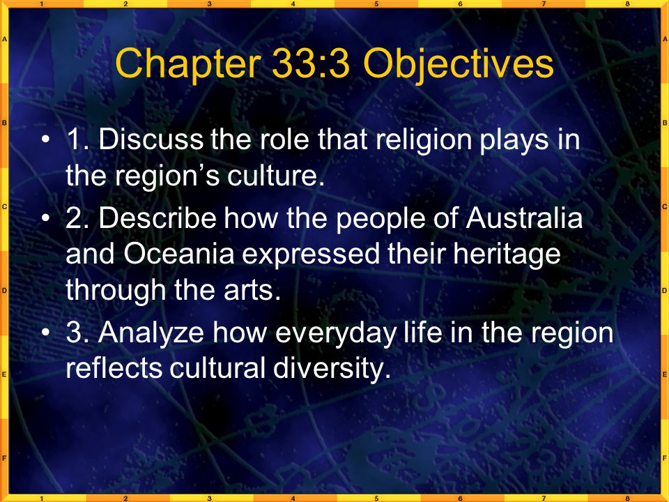 Chapter 33:3 Objectives 1. Discuss the role that religion plays in the region's culture.