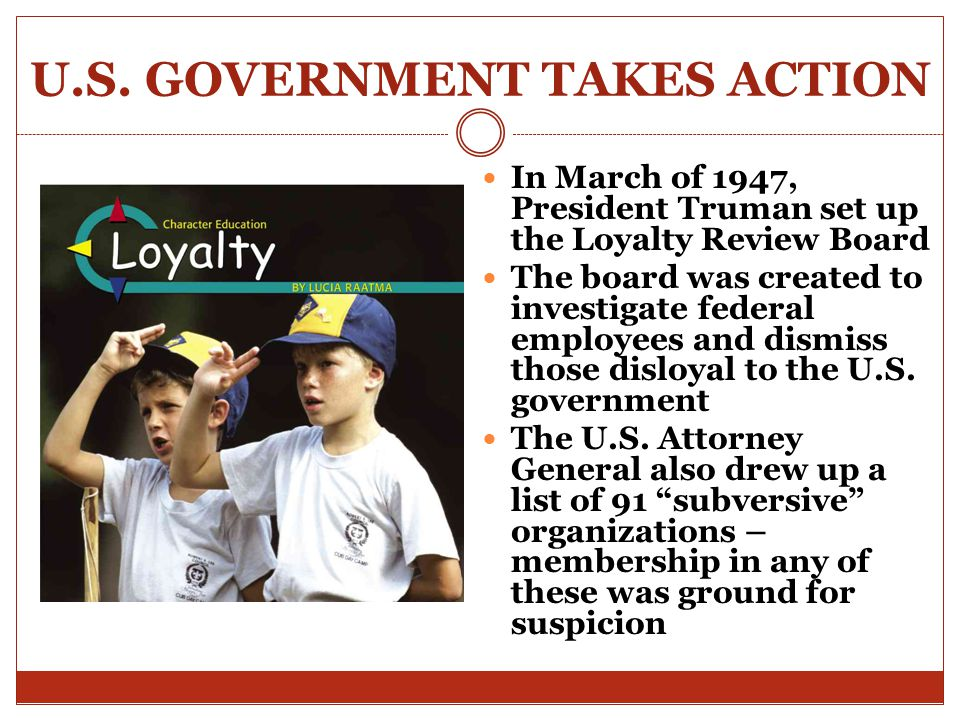 U.S. GOVERNMENT TAKES ACTION