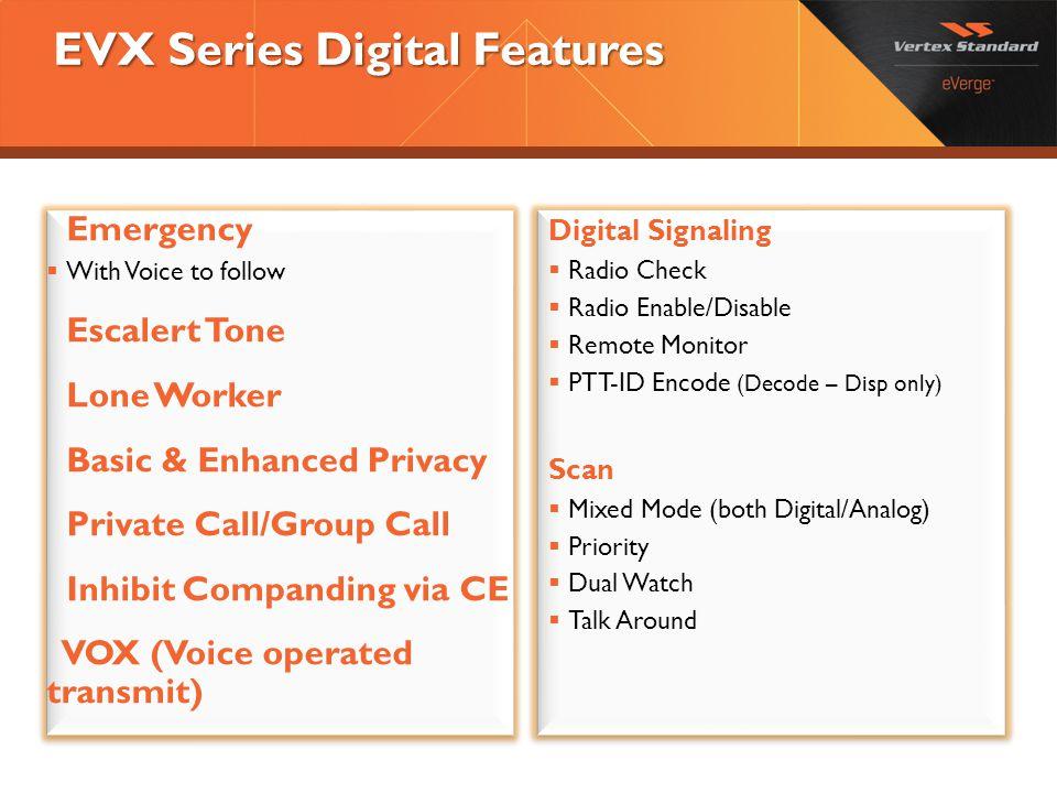 EVX Series Digital Features