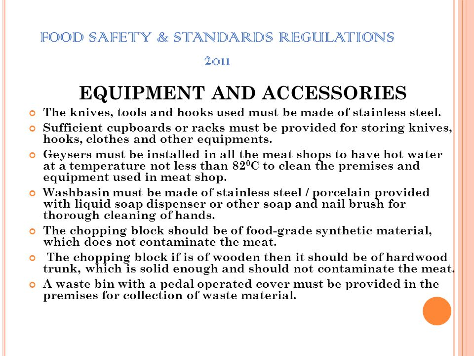 FOOD SAFETY & STANDARDS REGULATIONS 2011