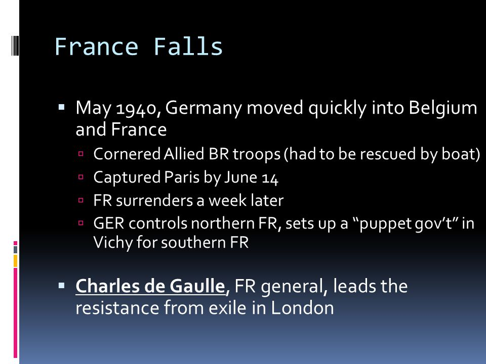 France Falls May 1940, Germany moved quickly into Belgium and France
