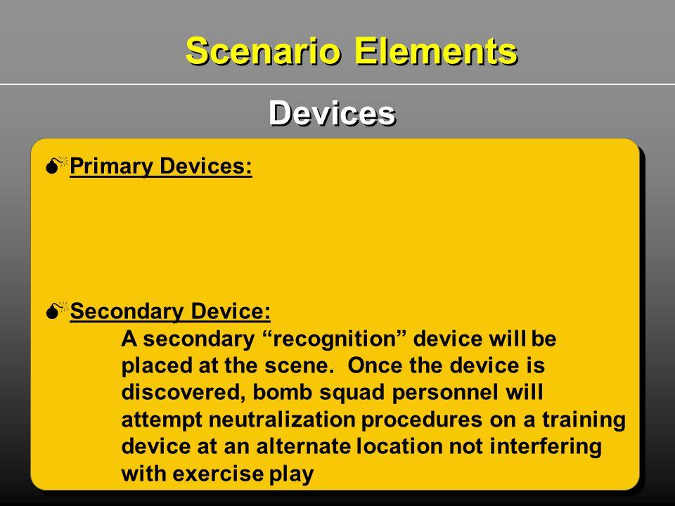 Scenario Elements Devices Primary Devices: Secondary Device: