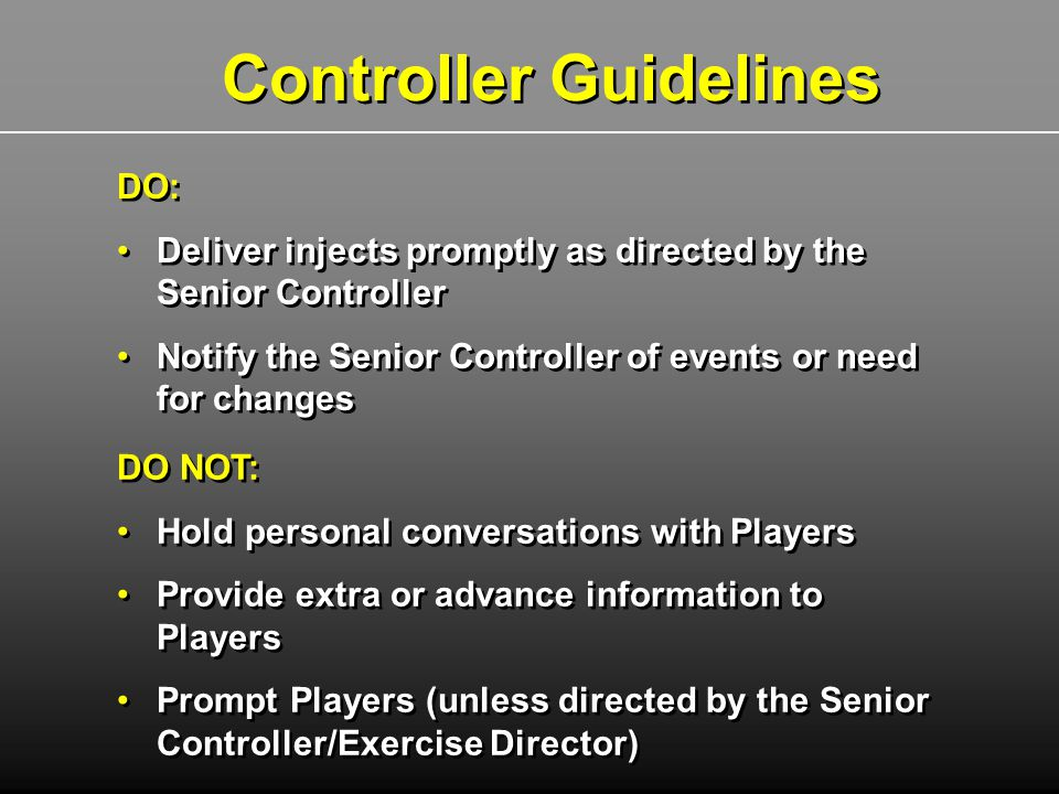 Controller Guidelines