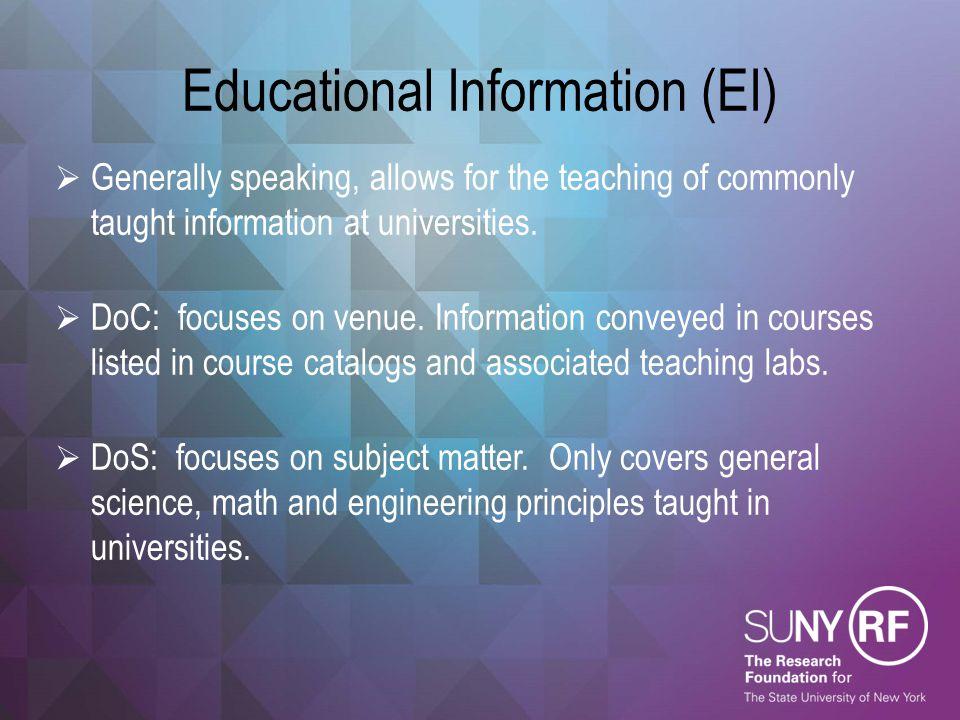 Educational Information (EI)