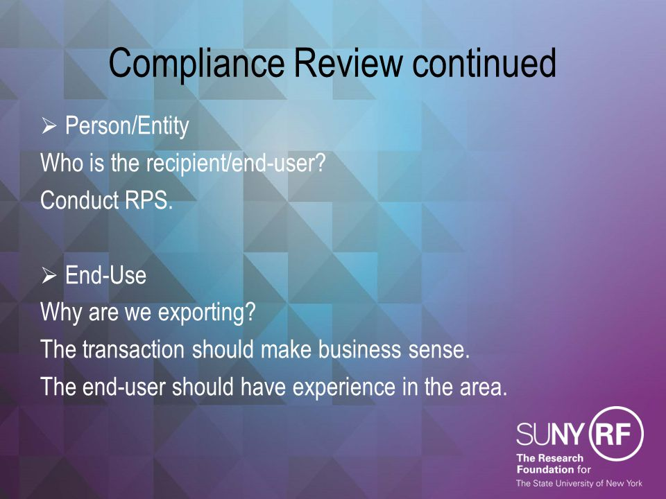 Compliance Review continued