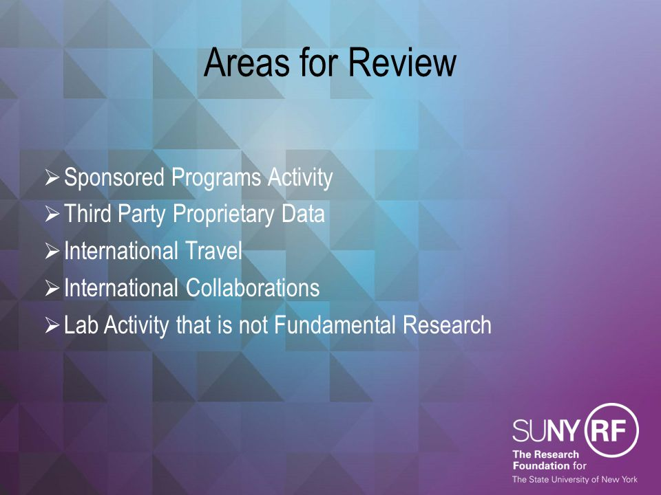Areas for Review Sponsored Programs Activity