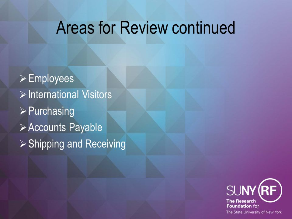 Areas for Review continued