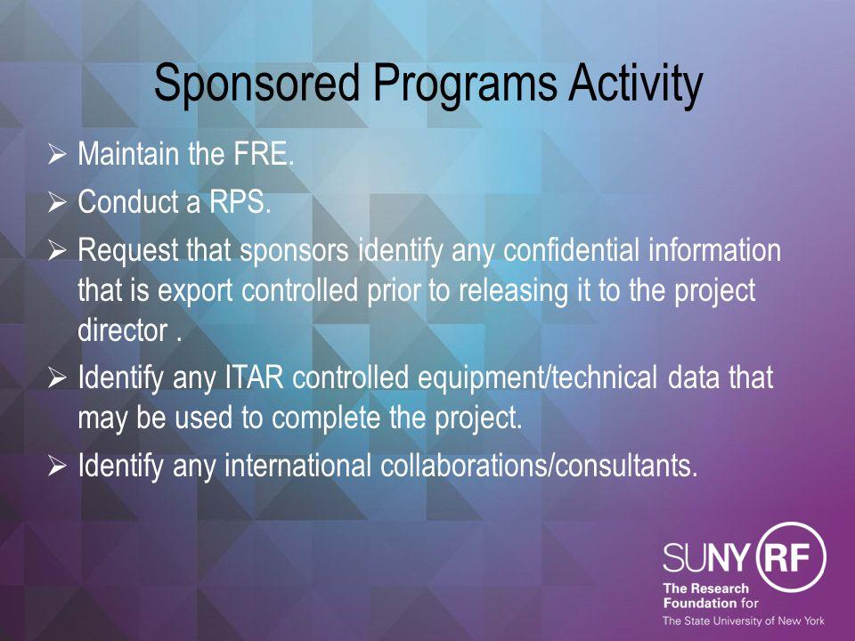 Sponsored Programs Activity