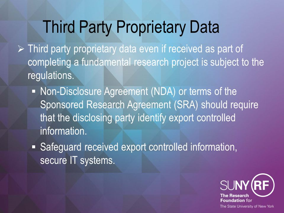 Third Party Proprietary Data