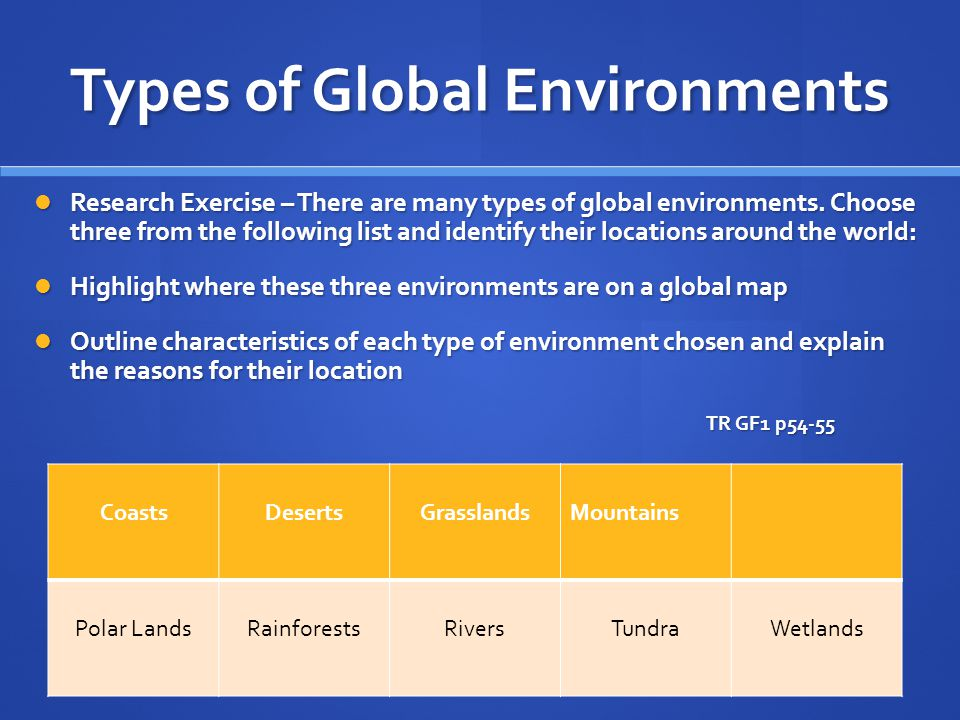 Types of Global Environments