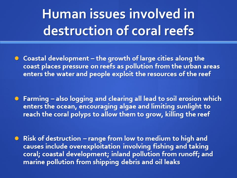 Human issues involved in destruction of coral reefs