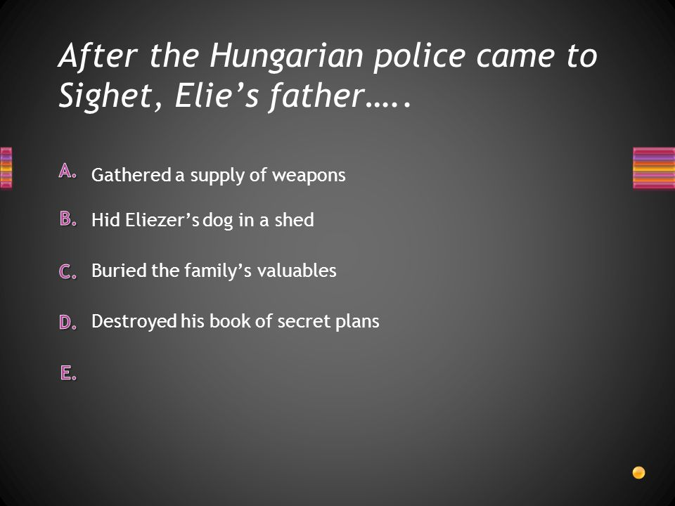 After the Hungarian police came to Sighet, Elie's father…..
