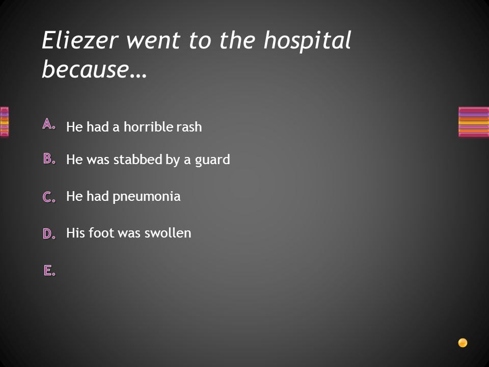 Eliezer went to the hospital because…