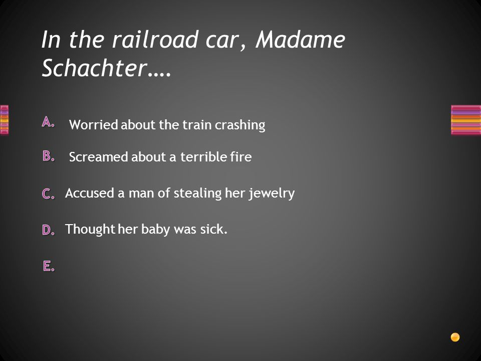 In the railroad car, Madame Schachter….