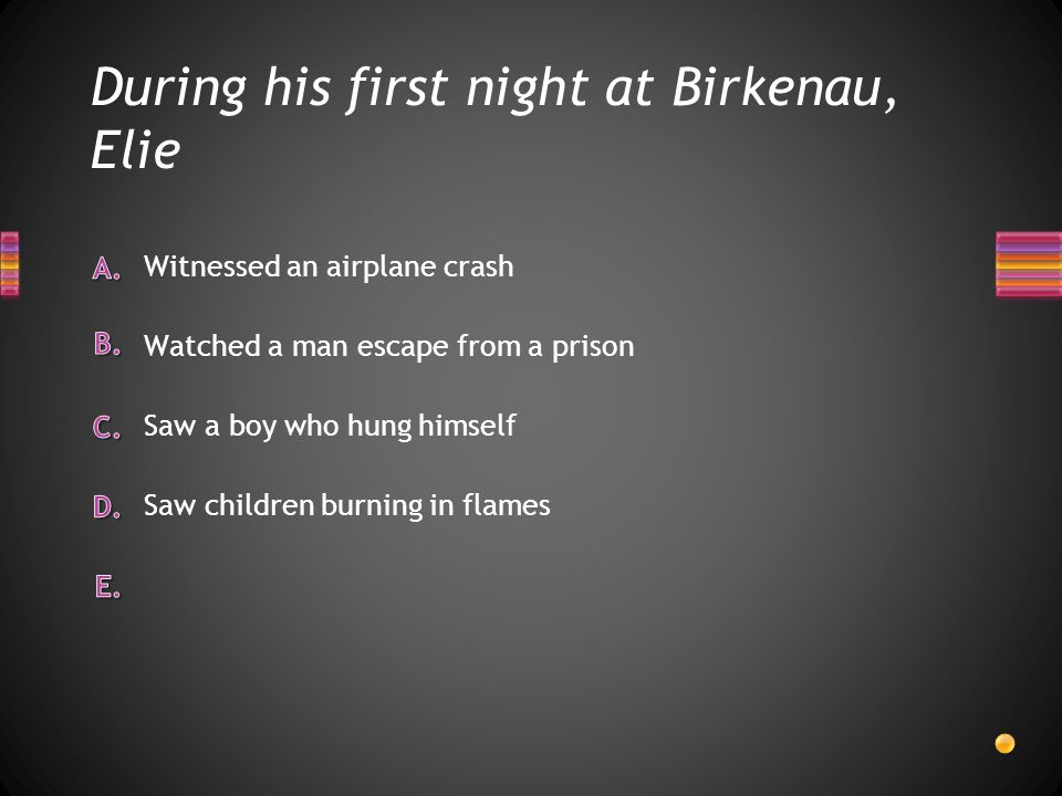 During his first night at Birkenau, Elie