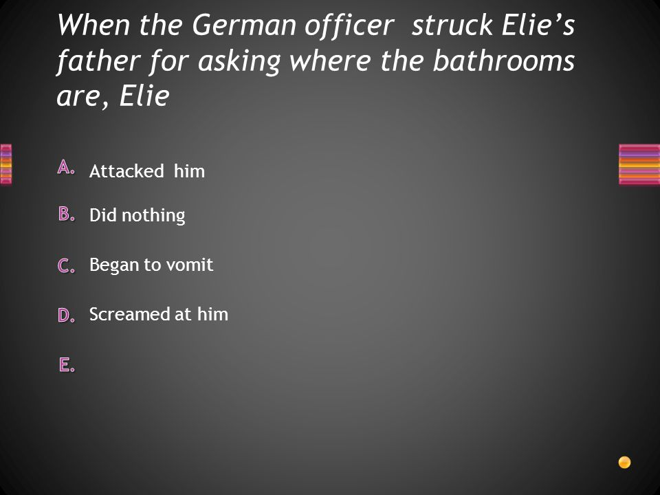 When the German officer struck Elie's father for asking where the bathrooms are, Elie