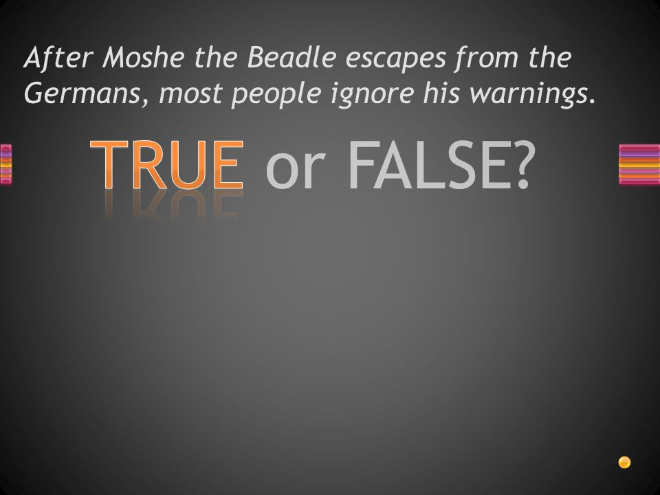After Moshe the Beadle escapes from the Germans, most people ignore his warnings.