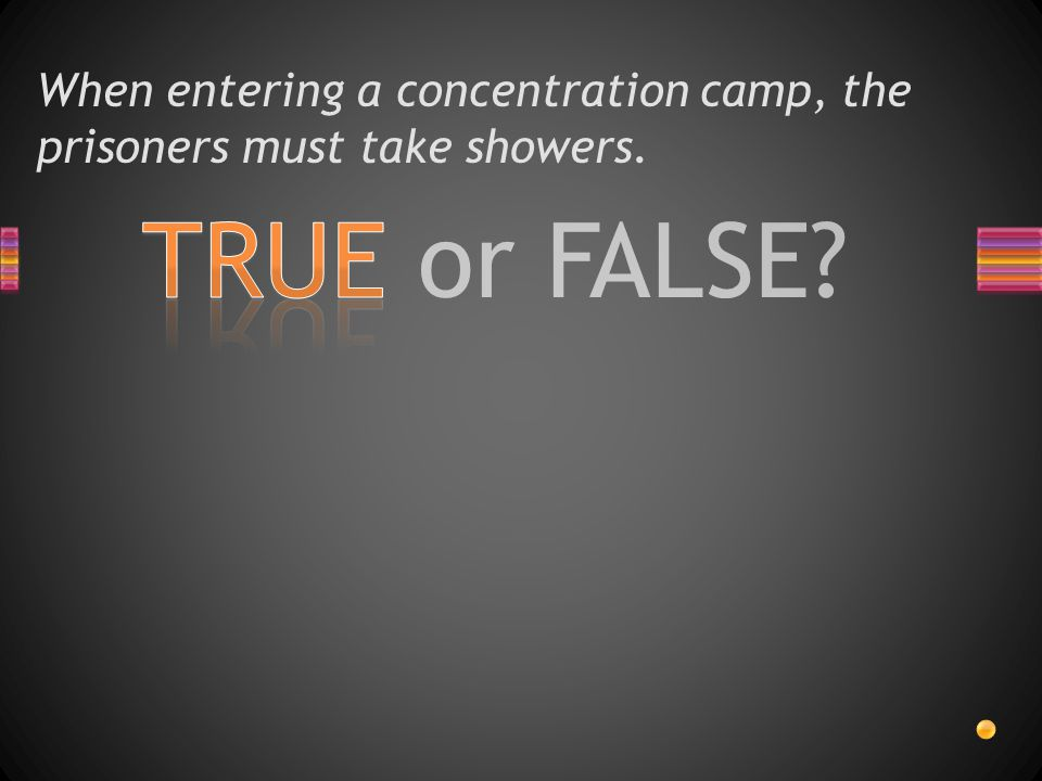 When entering a concentration camp, the prisoners must take showers.