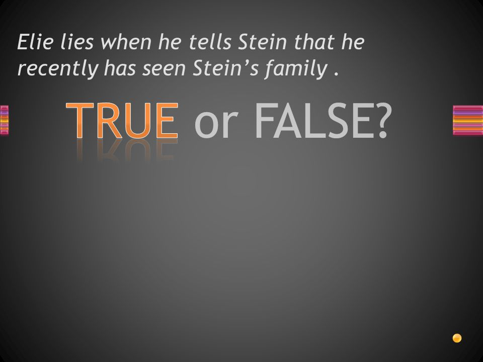 Elie lies when he tells Stein that he recently has seen Stein's family .