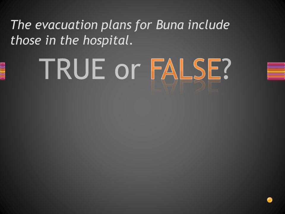 The evacuation plans for Buna include those in the hospital.