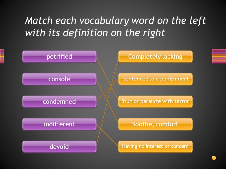 Match each vocabulary word on the left with its definition on the right