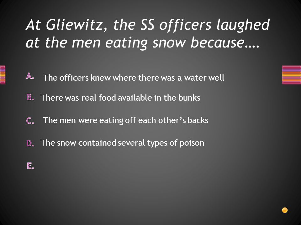 At Gliewitz, the SS officers laughed at the men eating snow because….