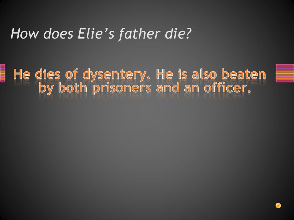 How does Elie's father die