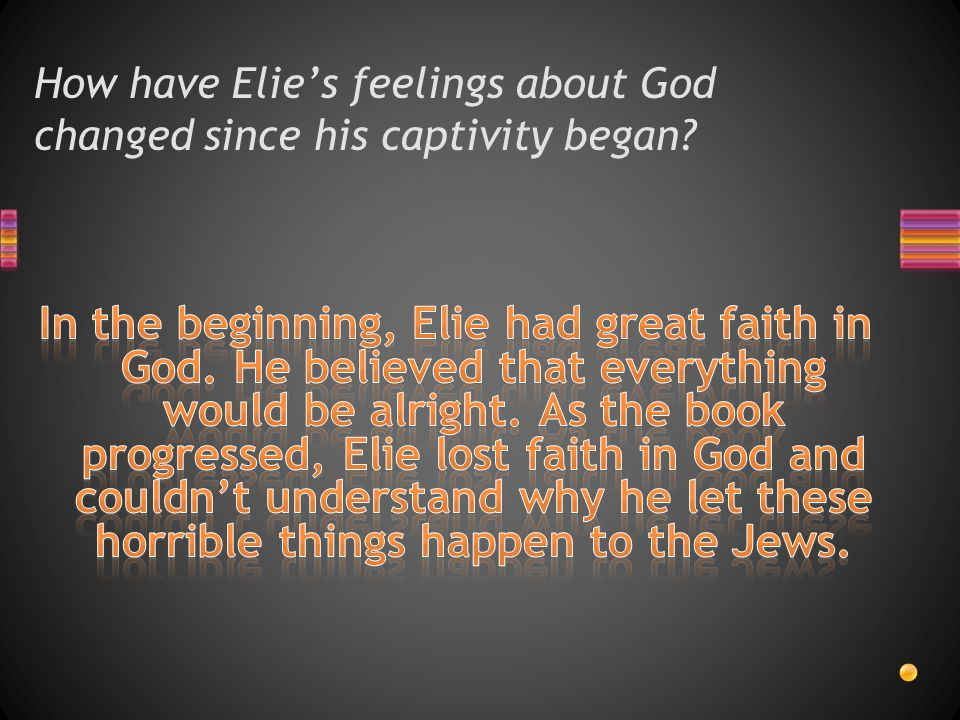 How have Elie's feelings about God changed since his captivity began