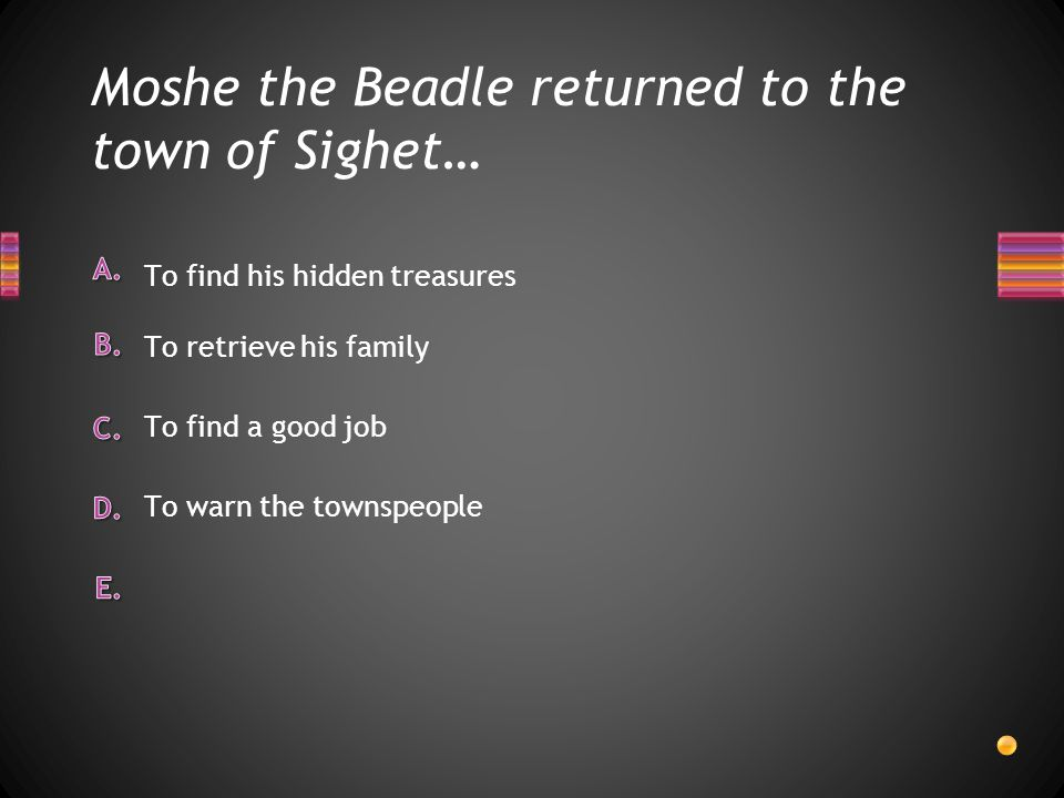 Moshe the Beadle returned to the town of Sighet…