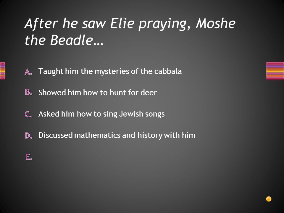 After he saw Elie praying, Moshe the Beadle…