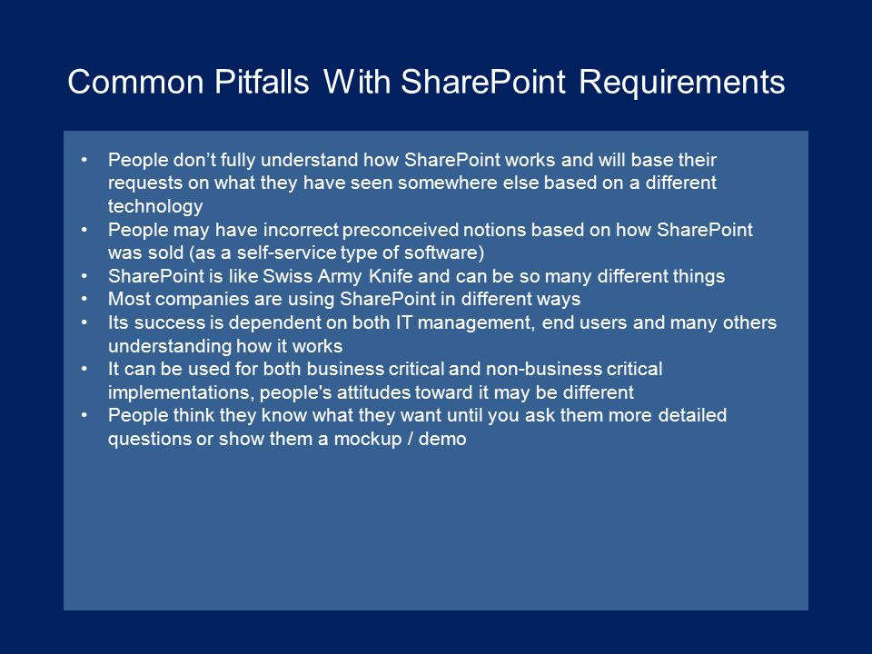 Common Pitfalls With SharePoint Requirements