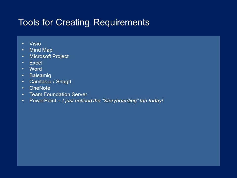 Tools for Creating Requirements