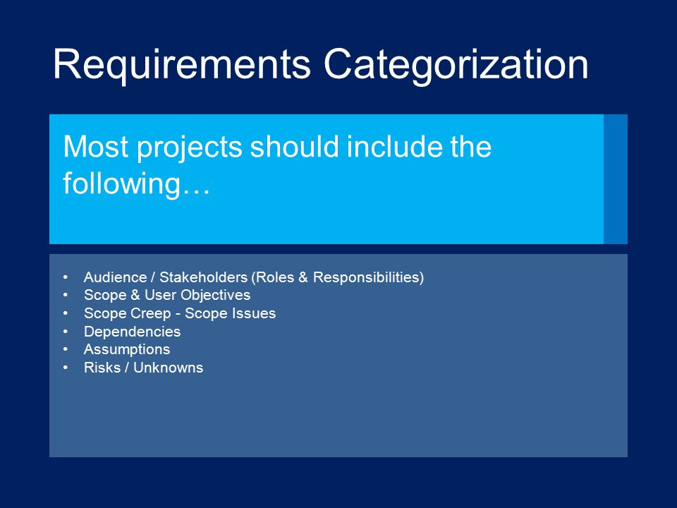 Requirements Categorization