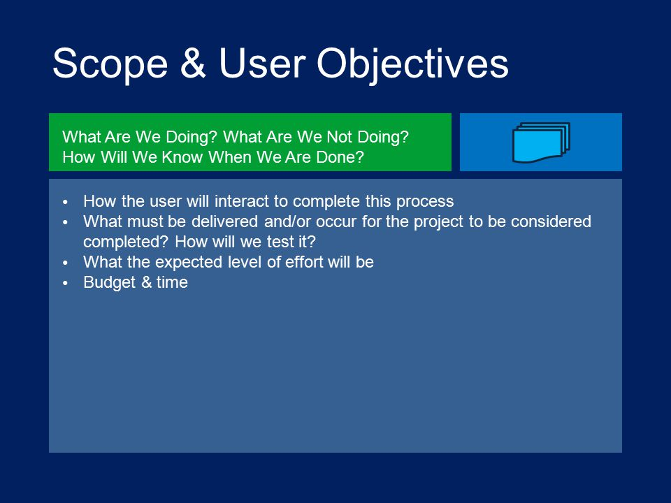 Scope & User Objectives