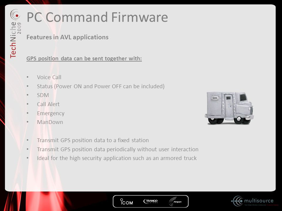 PC Command Firmware Features in AVL applications