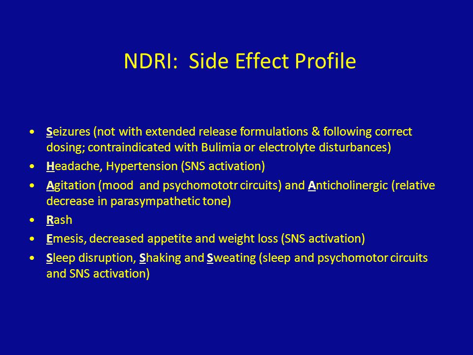 NDRI: Side Effect Profile