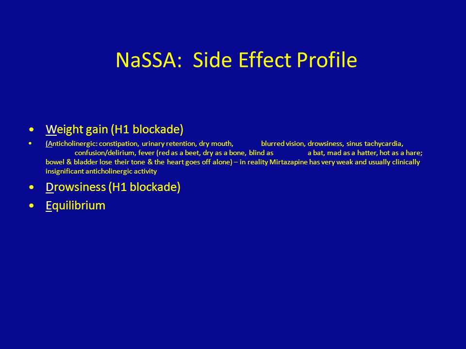 NaSSA: Side Effect Profile
